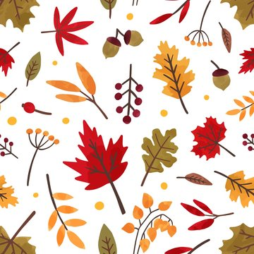 Autumn foliage hand drawn vector seamless pattern