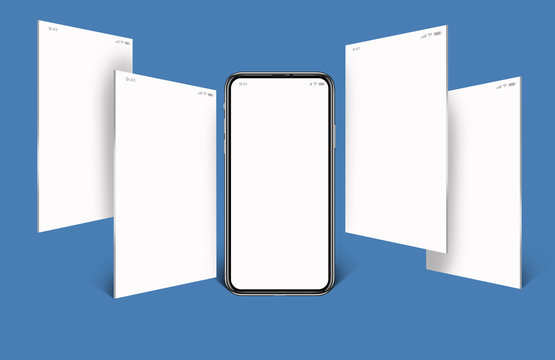 model of a cell phone, social media with cellphone, with four white screens horizontally and a blue background.