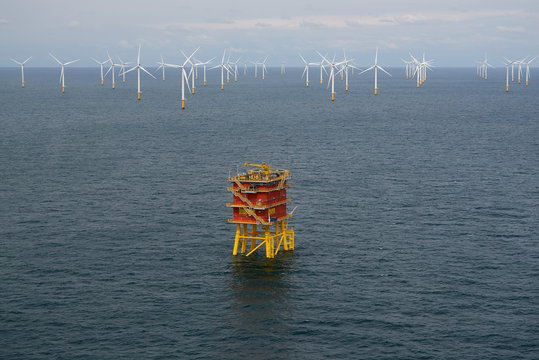 View of wind turbines and the Modular Offshore Grid (MOG) installed offshore near Belgium's coast