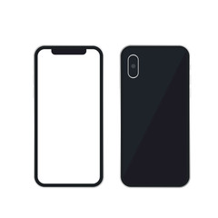 Vector phone x collection. Side and back vector images isolate on white background