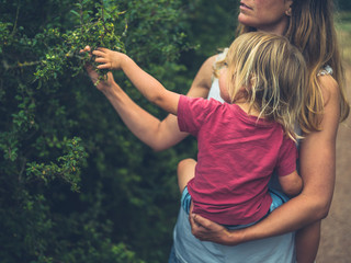 Mother and toddler touching a bush