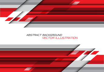 Abstract red grey polygon geometric on white with blank space for text design modern futuristic background vector.