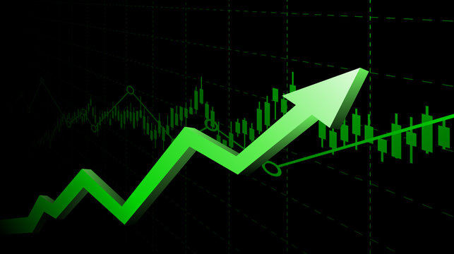 Abstract financial graph with uptrend line and arrows in stock market on green color background