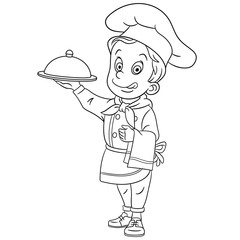 coloring page with chef, chief cook