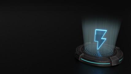 3d hologram symbol of photo  icon render