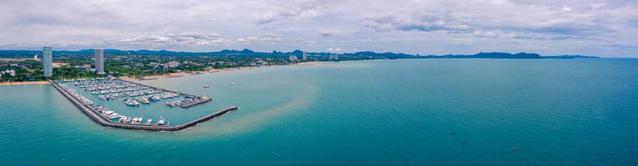 Poster Groen blauw Aerial panorama view of Harbor ocean marina yachts club in Pattaya city of Thailand