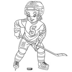 coloring page with hockey player