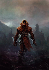 Fantasy ranger - man in a hood with a knife in his hand, a fortress with a tower in the background (digital painting)