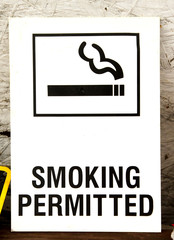 Old Smoking Permitted Wall Sign