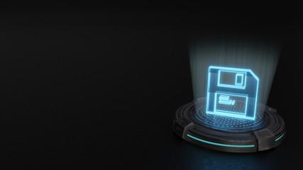 3d hologram symbol of save icon render