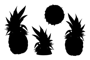 Pineapple silhouettesl set, basis graphics isolated on white