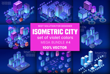 Ultraviolet Isometric City Fotomurales