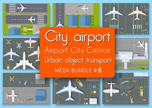 City terminal airport plan top view set