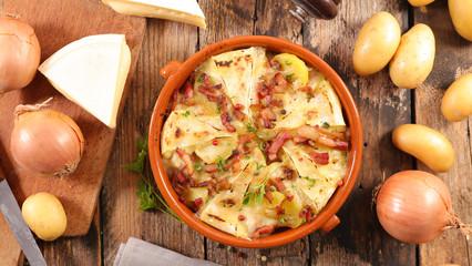 tartiflette, potato with cheese, bacon and cream