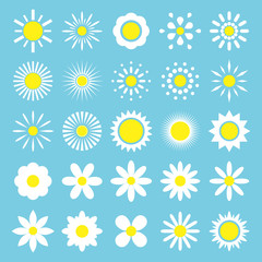 Camomile set. White daisy flowers silhouette icon. Cute flower head plant collection on a blue background.