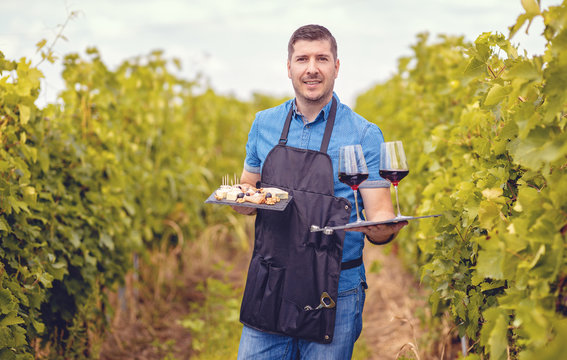 Man in vineyard welcoming tourists with red wine and selection of cheeses – Wine tasting tours concept