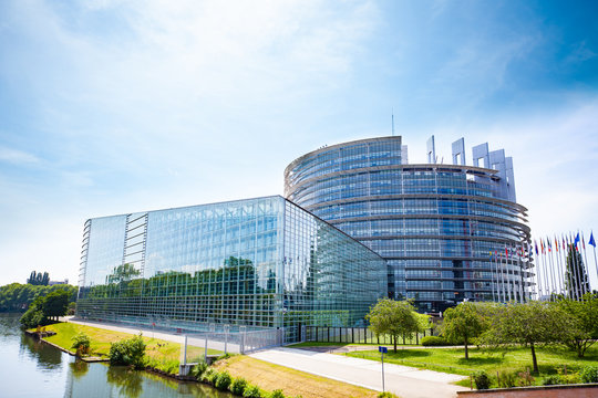 MAY 05, 2019: European Parliament view over river