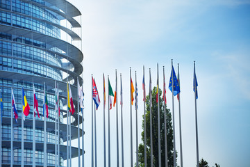 MAY 05, 2019: European Parliament with flags
