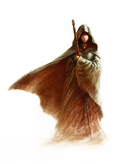 Fantasy young witch - beautiful woman with cloak and hood holding a magic staff, on white background (painting)