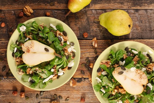 vegetable salad with cheese, walnut and pear- autumnal salad