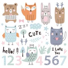 Set with cute  animals, numbers and dsign Elements. Kids party. Hand drawn style. Vector