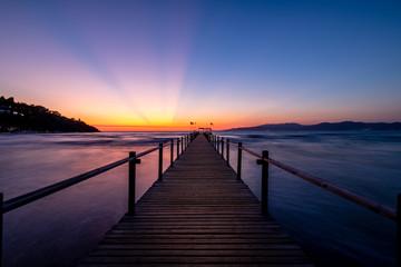 Steg Meer Sonnenuntergang