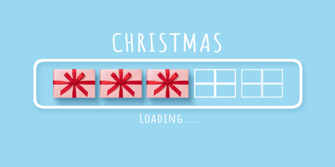 Loading progress bar with pink gift boxes on blue isolated background