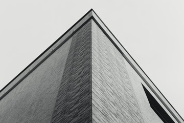 Image - Modern architecture black and white photograph of roof top. Family House architectural design - concept. Art in architecture (symmetry)