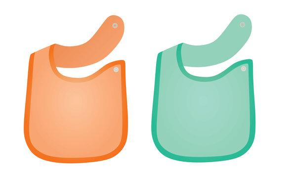 Orange and blue  baby apron set. vector illustration
