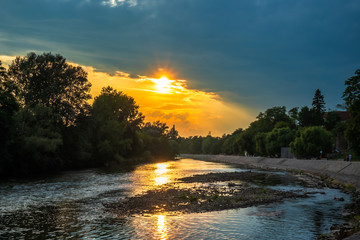 Beautiful sunset on river. Ibar river by the Kraljevo town in Serbia.
