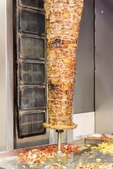 Lamb kebab at vertical grill