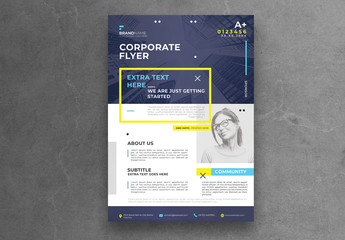 Minimal Business Flyer Layout with Blue Header