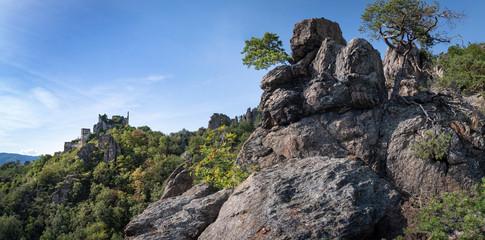 Wachaupanorama Ruine Dürnstein und Kletterfelsen