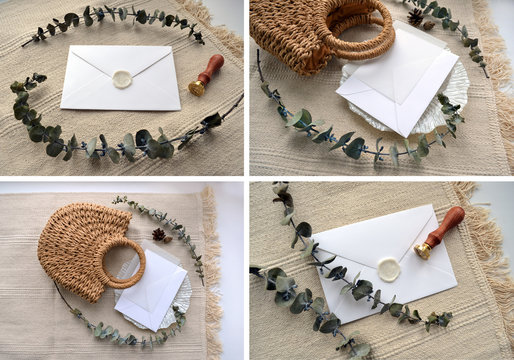 Four photo scene with envelope, calque, cone, woven straw bag, decorative saucer and dry eucalyptus. Elegant boho flat lay composition in soft beige color. For social media blog presentation mock up