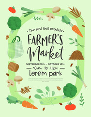 Farmers market poster template of green vegetables