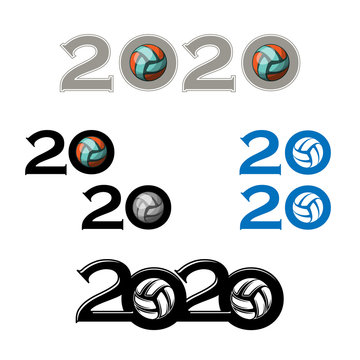 Set of different sport volleyballs with 2020 year numbers