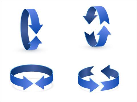 3D rotation sign blue icon 360 rotation arrows
