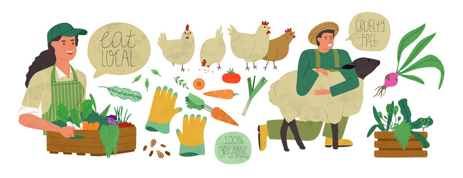 Organic farm production set of agriculture people