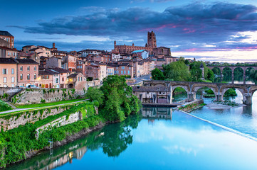 View on the old town of Albi in the morning