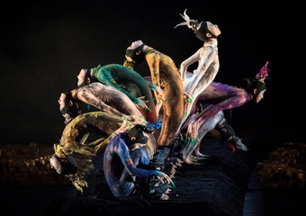Dancers of China's Peacock Contemporary Dance Company perform Yang Liping's Rite of Spring during the International Contemporary Dance Festival DANCEINVERSION on the stage of Bolshoi in Moscow