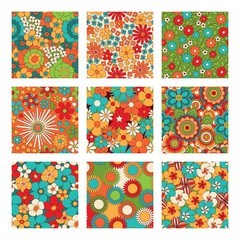 Vintage floral seamless patterns set. Psychedelic or hippie style backgrounds. Abstract flowers and groovy colors