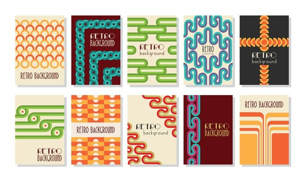Retro abstract posters set. Backgrounds with round geometric shapes and stripes