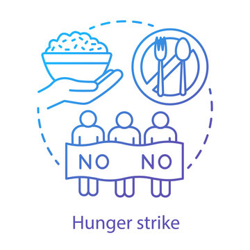 Hunger strike concept icon. Voluntary food abstinence, nonviolent protest idea thin line illustration. Protesters with banner, rice and tableware vector isolated outline drawing. Social demonstration