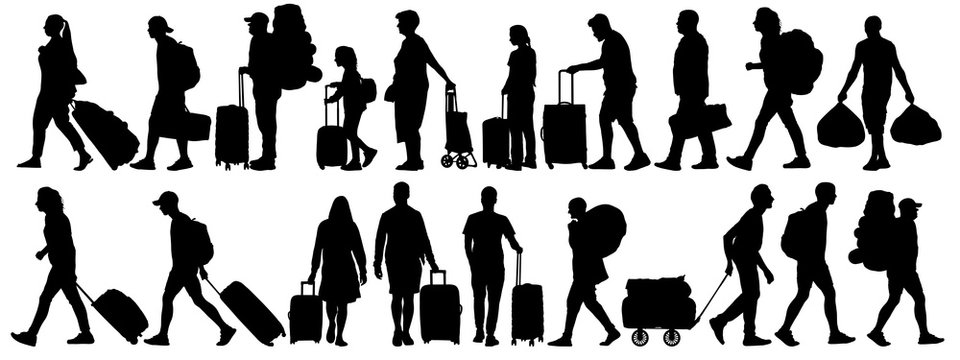 Crowd of people tourists. People with suitcases bags and backpacks. Migration of people. Vector silhouette isolated set