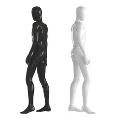 Black and white mannequin stand with their backs to each other. Isolated on a white background. 3D rendering