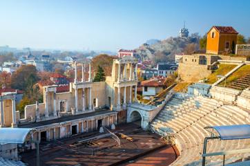 Roman Amphitheatre of Philippopolis at sunset in Plovdiv, Bulgaria