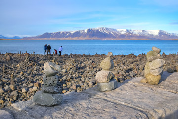 Pyramids of stones on the seashore