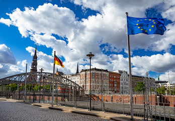Flags of Germany and the European Union on the embankment of Hamburg
