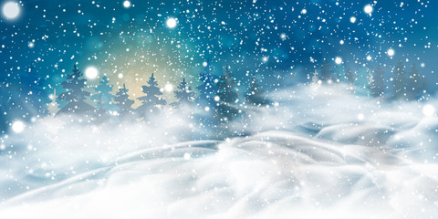 Fotomurales - Natural Winter Christmas background with night, heavy snowfall, snowflakes, snowy coniferous forest, snowdrifts. Winter landscape with falling christmas shining beautiful snow.