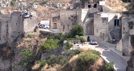 A car chase takes place on the set of the new James Bond movie 'No Time to Die' in Matera